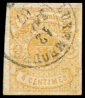 Lot 4057:1859-63 Arms Imperf SG #8 4c yellow 4-margins, 1867 cancel, Cat £275