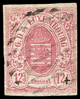 Lot 22174:1859-63 Arms Imperf SG #11 12½c rose (pale) 3-margins, bars cancel, Cat £250