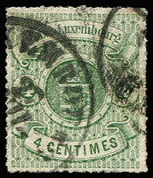 Lot 4370:1865-71 Arms Roulettes SG #20 4c green, Cat £38