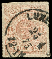 Lot 4371:1865-75 Arms Coloured Roulettes SG #23 1c red-brown, 1875 cancel, Cat £12.50