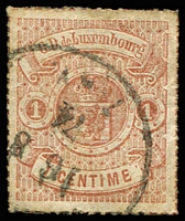 Lot 22179:1865-75 Arms Coloured Roulettes SG #23 1c red-brown, 1874 cancel, Cat £12.50