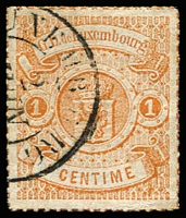 Lot 22177:1865-75 Arms Coloured Roulettes SG #22 1c brown-orange, Cat £65