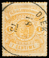 Lot 22176:1865-75 Arms Coloured Roulettes SG #21 1c orange, 1873 single ring 'DIEKI[RCH]