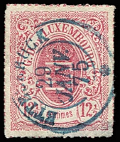 Lot 4372:1865-75 Arms Coloured Roulettes SG #25 12½c rose, blue double-ring 'ETTELB