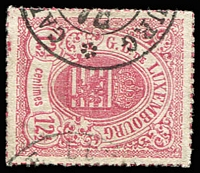 Lot 3904:1865-75 Arms Coloured Roulettes SG #25 12½c rose, Cat £12.50