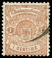 Lot 4373:1874-79 Arms Narrow Margins Perf 13 SG #40 1c brown, Cat £12.50