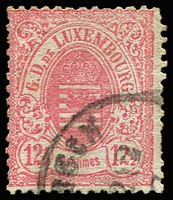 Lot 4374:1874-79 Arms Narrow Margins Perf 13 SG #50 12½c rose-carmine, Cat £31
