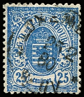 Lot 4375:1874-79 Arms Narrow Margins Perf 13 SG #52 25c deep blue, Cat £25