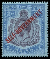 Lot 4321:1922 Self Government Wmk Mult Script CA SG #120 2/- purple & blue/blue, Cat £50.