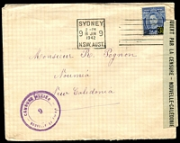 Lot 3941:1942 (Jun 16) inwards letter from Australia with 3½d Surcharge, local violet triple-circle Censor '9' and black/green reseal on right.