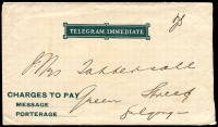 Lot 908 [2 of 3]:1895 Normal Telegram Hancock N-D-10c red on white with italic text etc, 'GULGONG/22AU1906/N.S.W' cancel, with dark green/white Telegram Envelope #N-E-5.