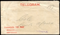 Lot 910 [2 of 3]:1909-18 Normal Telegram Hancock N-D-17a(I) grey-blue on white with small text, POSTAL & TEL.DEP/13AP11/[NEWCASTLE]