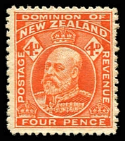 Lot 4415:1909-12 KEVII Perf 14 (Line) SG #396 4d orange, Cat £21.