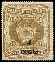 Lot 4467:1904-05 '4 Cents' SG #157 on $10, Cat £12.