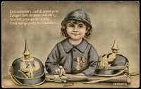 Lot 80:France - Patriotic: coloured card of French boy wearing Croix de Guerre, has message from Australian soldier in France writing home. The message is dated 20/9/17.