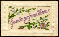 Lot 114:WWI - Silks: WWI silk 'Greetings from France', with message home from Australian soldier.