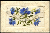 Lot 116:WWI - Silks: WWI pocket silk showing flowers, with message home from Australian soldier in France.