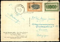 Lot 24467:1951 us of 70c & 4f on 6f on airmailed PPC (Cob de Thomas antelope) to Belgium.