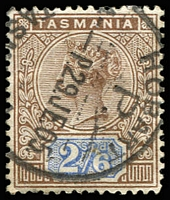 Lot 1357:1892-99 Tablets Wmk TAS Perf 14 SG #222 2/6d brown & blue, Cat £35