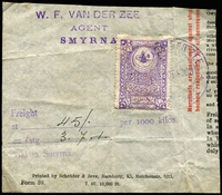 Lot 4472:Fixed Fee: 1900 style 1pi violet with large tughra on part document paying £3/7/1 for freight at Smyrna.
