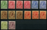 Lot 4683:1913-21 KGV Values At Top Wmk Mult Crown/CA SG #129-36 ½d, 1d x3 shades, 2½d x2 shades, 3d x3 shades, 4d x3, 5d & 6d, Cat £27. (14)