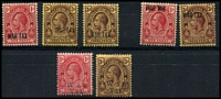 Lot 29171:1917-19 War Tax SG #140-4,150-1 1917 (3 Jan) 1d & 3d x2 shades, 1917 (Oct) 1d & 3d and 1919 (20 Au) 1d & 3d. (7)