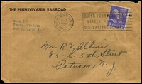 Lot 4491:1954 (Jan 5) use of 3c Jefferson perf 'PRR' on The Pennsylvania Railroad cover from New York to New Jersey.