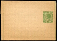 Lot 10295:1885 QV Stieg #KE6 1d green on unwmked buff stock, slightly aged, Cat $20.