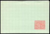 Lot 2234:1887 ½d Carmine Stieg #KE10b on green stock, Cat $15
