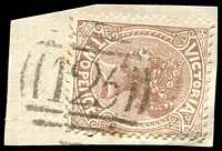 Lot 10465:125: type 1B on 2d sepia on piece  Allocated to Kew-PO 6/10/1856.