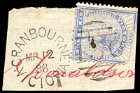 Lot 2274:130: unframed duplex 'CRANBOURNE/MR12/88/VICTORIA - 130' on 6d blue on piece.  Allocated to Cranbourne-PO 1/8/1857; renamed Cranbourne Delivery Centre DC 14/2/1994.