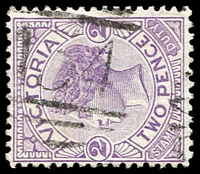 Lot 11590:134: '134' recut (no sidebars) on 2d violet. [Rated 2R]  Allocated to Woolshed-PO 1/9/1857; TO 31/12/1943; closed 31/3/1953.