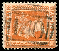 Lot 2278:140: on 1d brown. [Rated R]  Allocated to Miner's Rest-PO 1/9/1857; LPO 28/7/1993.
