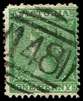 Lot 10485:148: type 1B on 1d Laureate.  Allocated to Emerald Hill-PO 1/10/1857; renamed South Melbourne PO 19/11/1883.