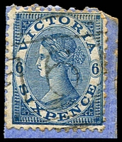 Lot 1693:161: 2nd type on 6d Laureate on piece.  Allocated to East Brighton-Renamed from South Brighton PO 1/9/1857; renamed Brighton East PO c.1867; renamed Little Brighton PO 1/3/1887; renamed Brighton North PO 15/1/1891; closed 18/12/1924.