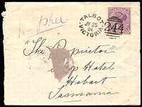 Lot 10563 [1 of 2]:244: unframed duplex 'TALBOT/JY25/04/VICTORIA - 244' on 2d violet on Tatts cover.  Allocated to Back Creek-PO 24/3/1859; renamed Talbot PO 14/2/1862; LPO 10/6/1994.