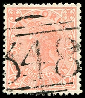 Lot 11755:348: '348' Type 2 (figures 12mm high) on 1d pink. [Rated 2R]  Allocated to Alma-PO 1/7/1861; TO 31/10/1959; closed 30/4/1969.