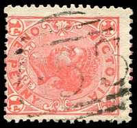 Lot 2325:553: '553' on 1d pink. [Rated 2R]  Allocated to Whorouly-PO 1/5/1866; renamed Bowman's Forest PO c.-/12/1866; closed 25/9/1923.