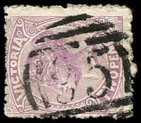 Lot 2263:95: '95' on 2d mauve. [Rated R]  Allocated to Ceres-PO 14/2/1856; closed 31/3/1962.