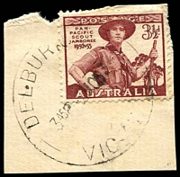 Lot 2505:Delburn (1): - WWW #10 'DELBURN   /345P-2NO53/VIC-[AUST]' on 3½d Scout on piece. [Rated 5R - the first offered by us. The separate TO was closed in 1951. It would seem that the TO's CDS was then transferred to the PO after the letters 'T.O' were removed.]  Renamed from Darlimurla RO c.1907; PO 1/7/1927; closed 30/9/1963.