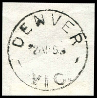 Lot 2526:Denver: - WWW #10 'DENVER/2AP59/VIC.' on piece. TO only. [Only archival strikes are recorded.]  PO 12/10/1922; TO c.-/4/1923; closed 30/4/1959.