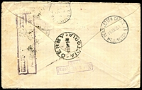 Lot 2529:Derby: - WWW #20B 'DERBY/■4JE35/VICTORIA', (dateline inverted) transit on unclaimed cover from New Zealand to Derby NSW, then Vic, then Tas and finally Birmingham, England before being returned to Wellington. [Rated 2R]  PO 6/1/1877; closed 30/6/1970.