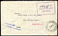 Lot 2583:Dhurringile Mil. P.O.: - WWW #10 'MIL.P.O.DHURRINGILE/4MR40/VIC-AUST' on internee cover to Melbourne with violet boxed 'SERVICES OF/PRISONERS OF WAR' and blue straight-line 'PASSED BY/CENSOR' handstamps on face. [Rated 4R]  PO 1/2/1940; renamed Tatura Mil. P.O. No. 1 PO 16/4/1940.