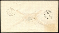Lot 2620:Digby: - WWW #10 oval 'DIGBY/[crown]/MA*14/1864/VICTORIA' backstamp on cover to Portland, 4d Laureate cancelled with illegible '179'.  PO 1/6/1858.