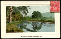 "Lot 16426:Shelford: - WWW #30 unframed 'SHELFORDFE4/[?]/[Victori]A' on 1d red KGV on fine coloured PPC of  '""The Angler's Paradise"", Molesworth, Vic.'.  Renamed from The Leigh PO 1/1/1854; LPO 20/5/1994."