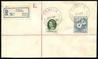 Lot 3131 [1 of 2]:Tabilk (2): Office20B 'TABILK/12MY64/VIC.' on 5d & 2/- on cover (address label fallen off) with blue registration label.  Renamed from Tabilk R.S. PO 19/8/1918; closed 30/12/1992.
