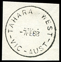 Lot 3149:Tahara West (2): - WWW #10 'TAHARA WEST/7FE68/VIC-AUST' (Closing day - archival strike) on piece.  PO 26/10/1922; TO c.-/4/1923; closed 7/2/1968.