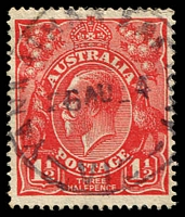 Lot 2983:Yannathan Butter Factory: - WWW #10A 28mm 'YANNATHAN FAC[TOR]Y/26AU24/VIC' (3,3 - smaller letters - ERD) on 1½d red KGV. [Rated 4P - the only example offered by us.]  TO c.1909; RO 1/4/1910; PO 1/7/1927; TO 13/11/1959; renamed Yannathan South PO 1/6/1960.