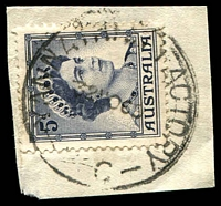Lot 2985:Yannathan Butter Factory: - WWW #10C 28mm 'YANNATHAN FACTORY/232NO59/VIC' (larger letters) on 5d blue on piece. [Rated 4P - the first offered by us. Only used for a few mths before the name change]  TO c.1909; RO 1/4/1910; PO 1/7/1927; TO 13/11/1959; renamed Yannathan South PO 1/6/1960.