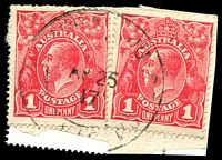 Lot 3009:Yarra Junction: WWW #15 double-circle relief 'YARRA JUNCTION/AP25/17/VIC' on 1d red KGV x2 on piece. [The only recorded example.]  PO 20/11/1901; LPO 10/11/1993.